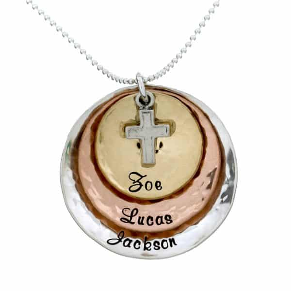 multitone name necklace with cross