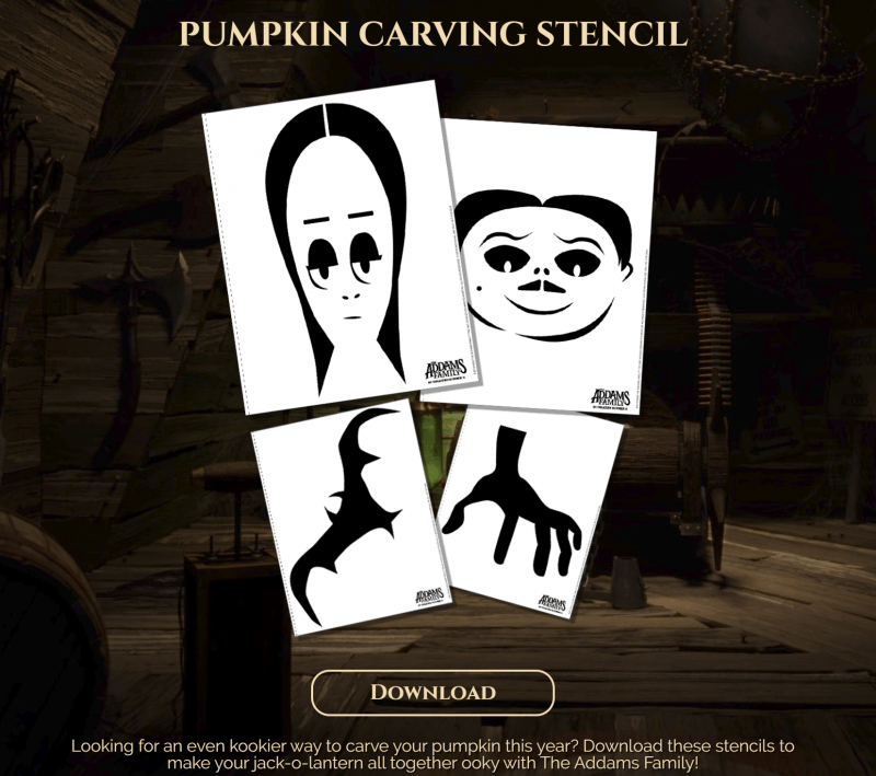 free printable Addams Family Movie pumpkin carving stencils