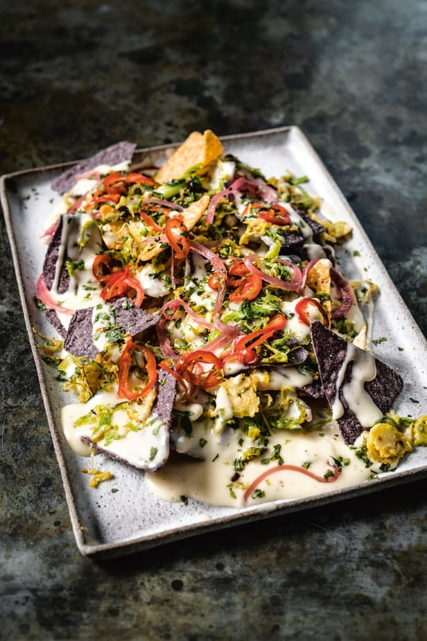 Brussels Sprout Nachos with Pickled Chiles