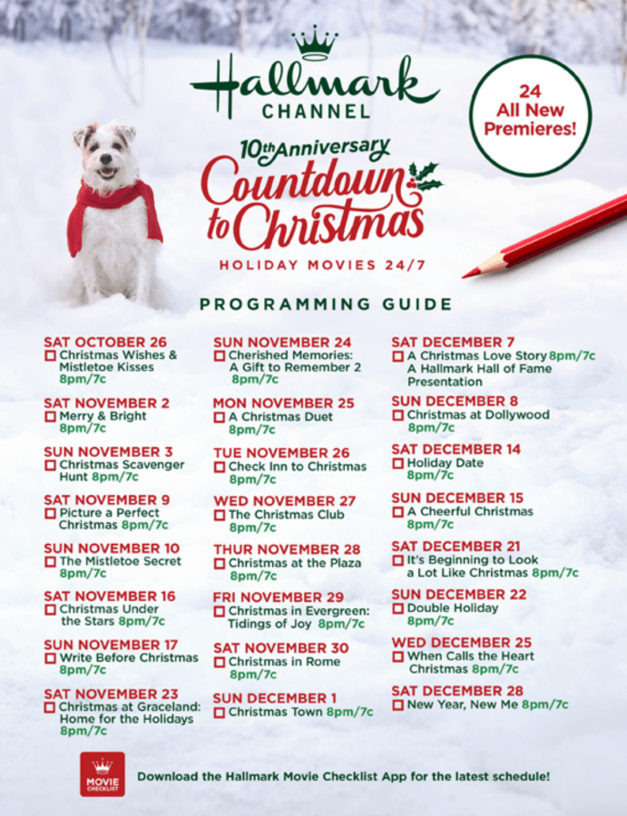 2019 hallmark countdown to christmas schedule