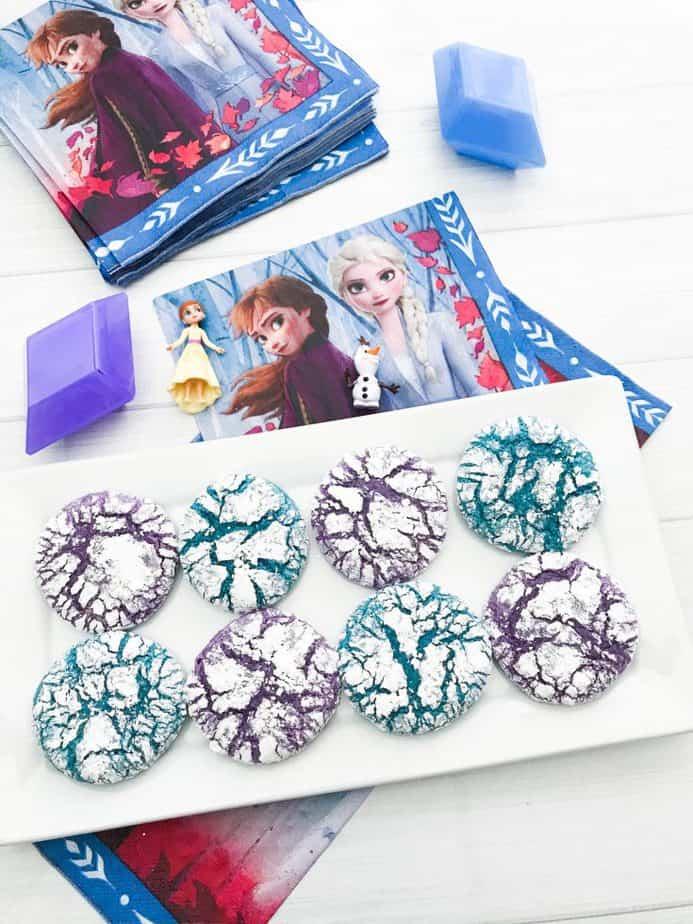 Frozen Inspired Crinkle Cookies