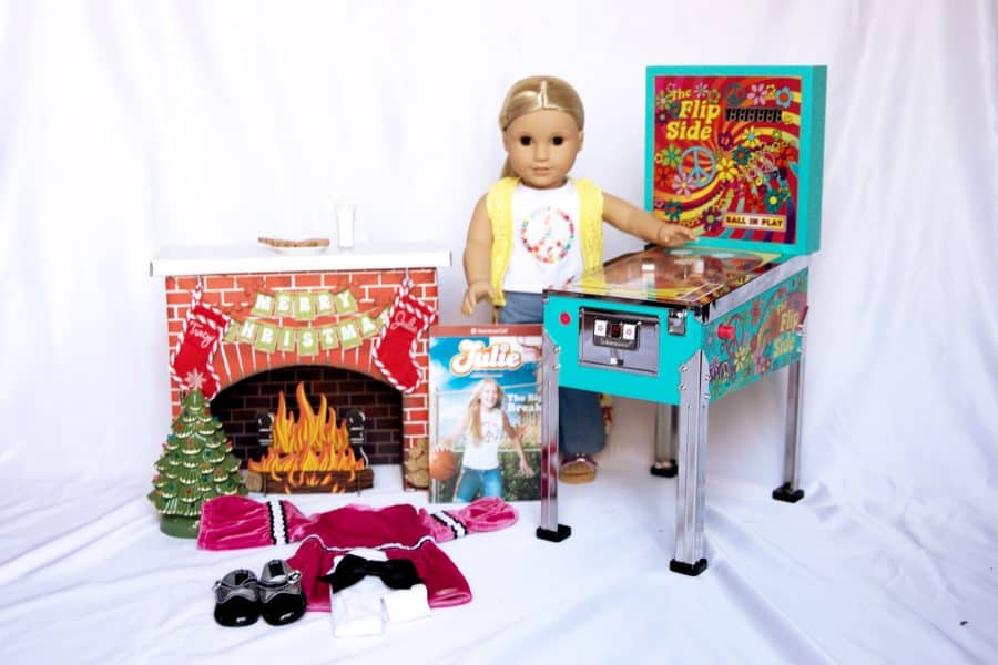 julie albright american girll doll with doll sized pinball machine and christmas tree set