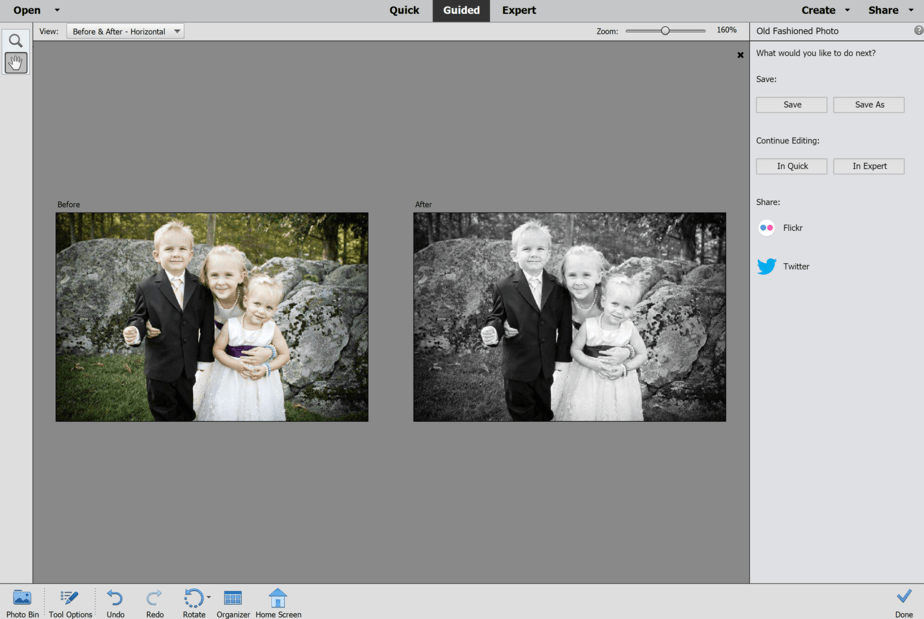 before and after color photo to black and white photoshop elements