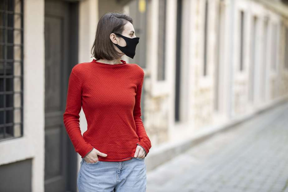 woman in mask