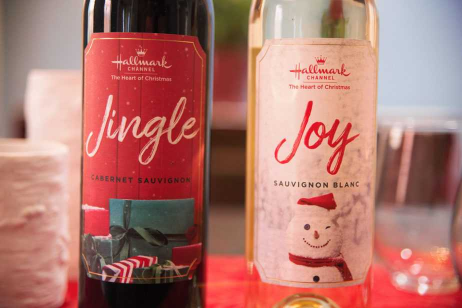 close up of bottles of jingle and joy wines from hallmark channel