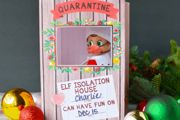 elf on the shelf in printable isolation house
