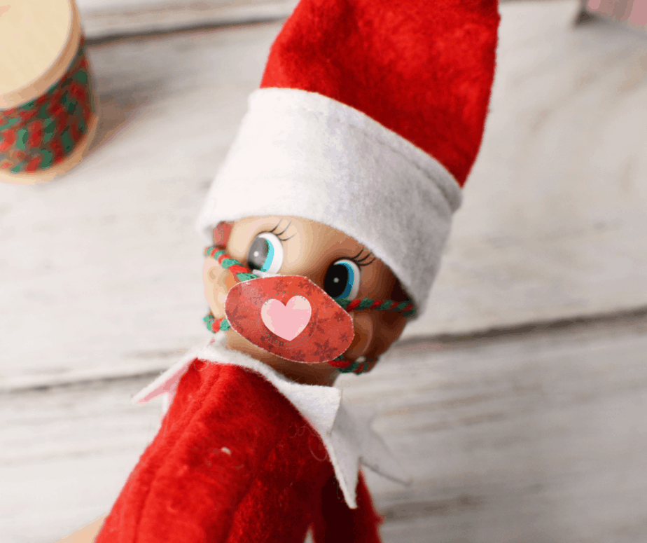 elf on the shelf with printable elf sized mask on face