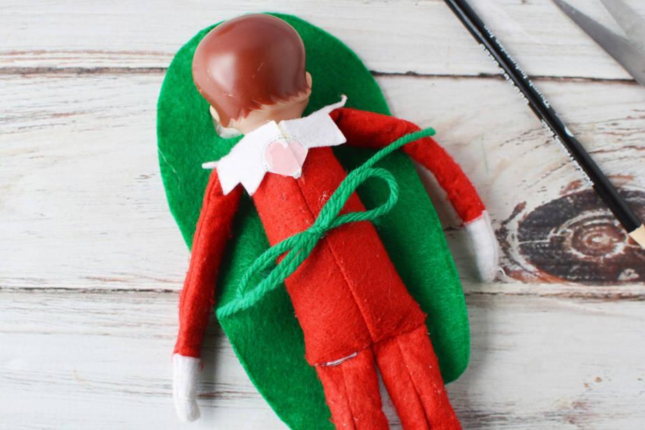 among us elf costume back