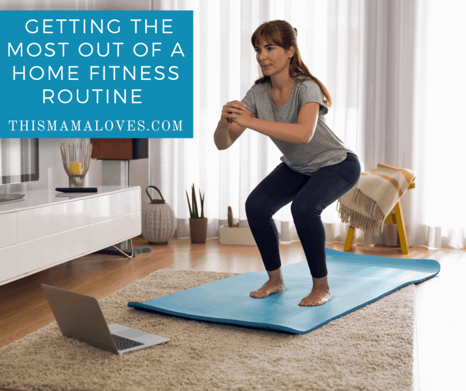 woman doing squats on exercise mat at home