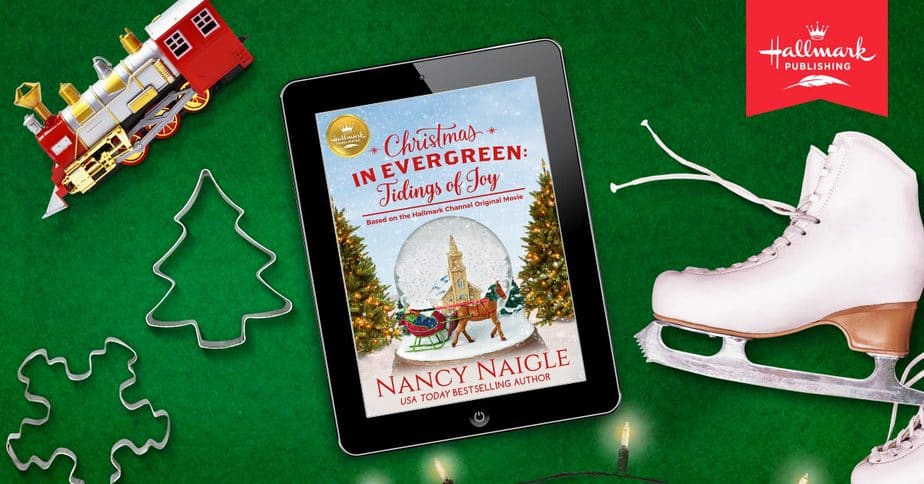 tablet with cover of christmas in evergreen tidings of joy loaded up