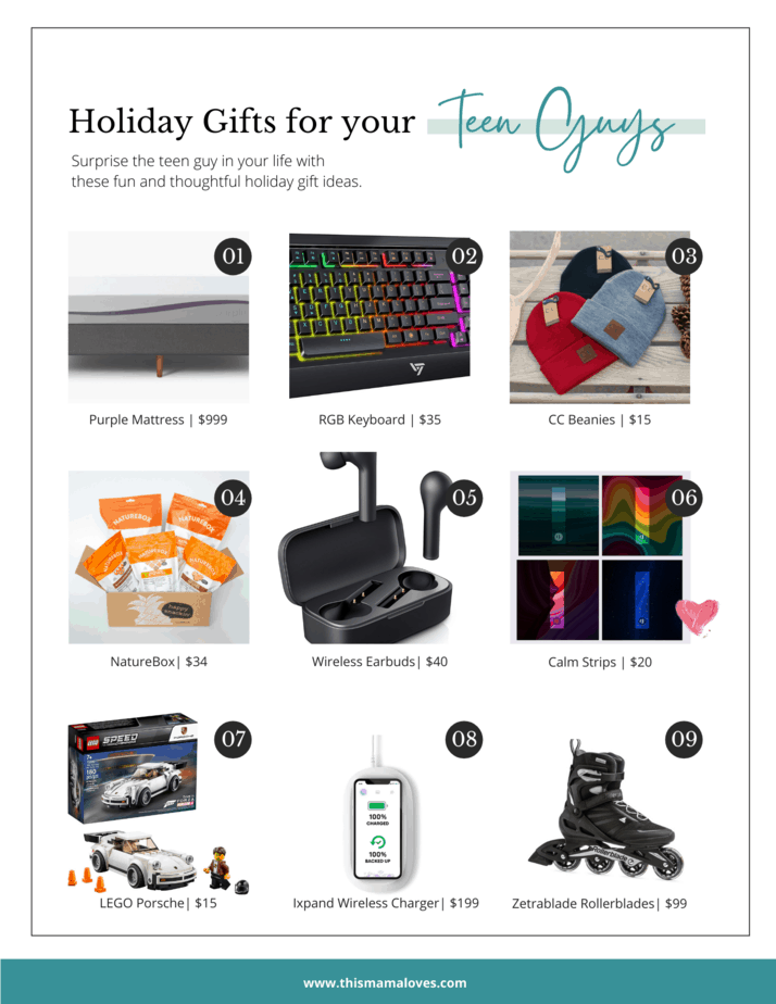 Gift ideas for teen boys in collage form