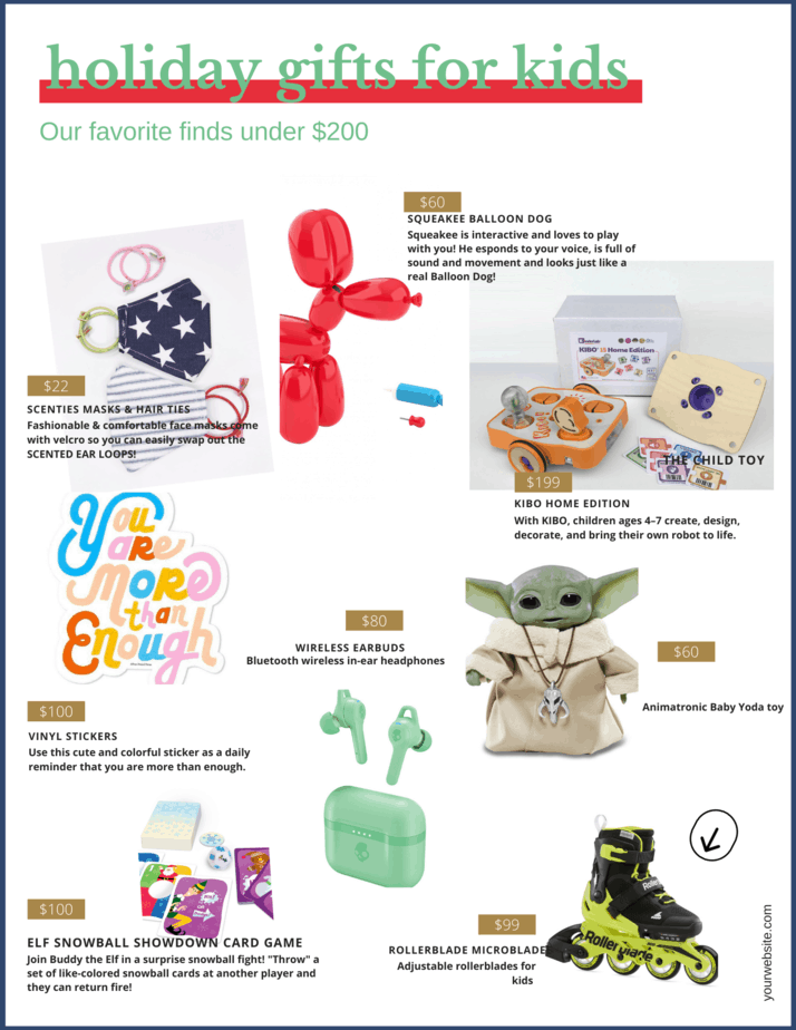 Here are some great gift ideas for kids in a variety of price ranges so you can find something they will enjoy and you can afford.