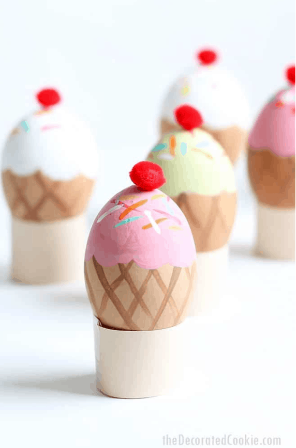 Ice Cream Cone Eggs from The Decorated Cookie