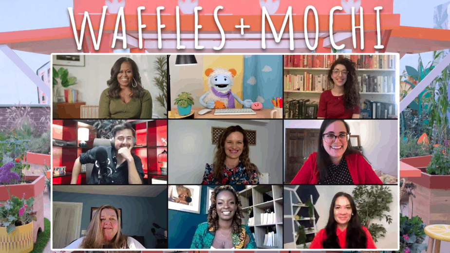 Waffles + Mochi collage from zoom interviews with Michelle Obama