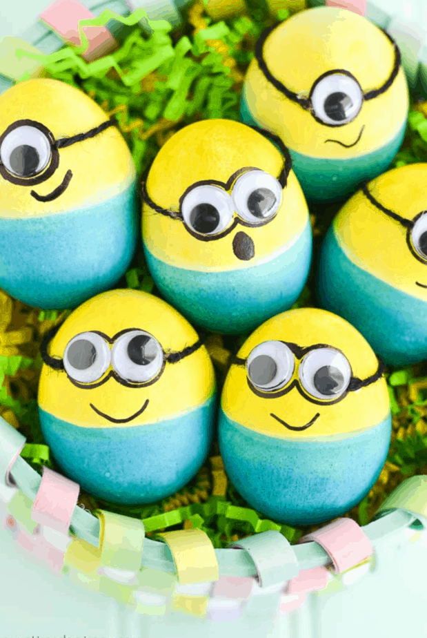 dyed Minion Easter Eggs from A Pumpkin And A Princess