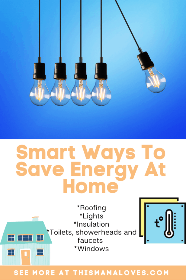 collage with ideas of 7 Smart Ways To Save Energy At Home