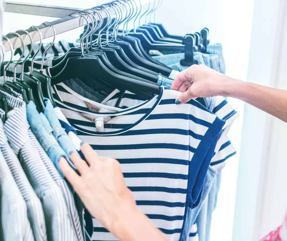 rack of blue and blue striped clothing