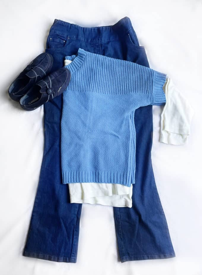 blue sweater ivory top blue jeans navy shoes